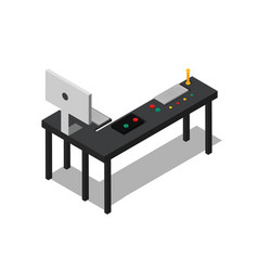 table with control buttons set and power computer vector image