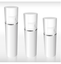 three airless bottle with a silver ring vector image