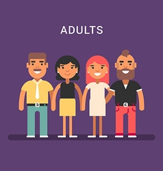 Two mature couples men and women colored flat vector