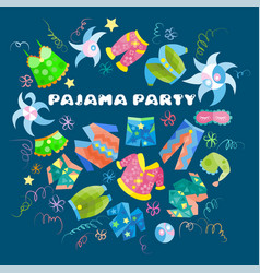 Typography card for a pajama party vector