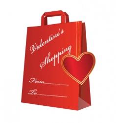 Valentine shopping bag vector
