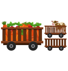 Vegetables and cow in the wooden wagons vector