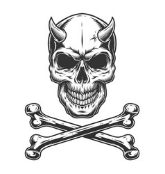 Vintage monochrome demon skull vector