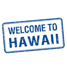 Welcome to hawaii blue grunge square stamp vector