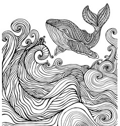 Whale and ocean waves coloring page vector