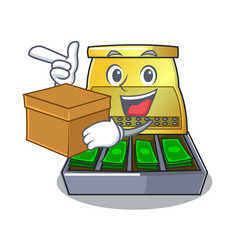 With box cartoon vintage cash register front view vector