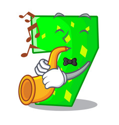 With trumpet cartoon number seven on stone wall vector