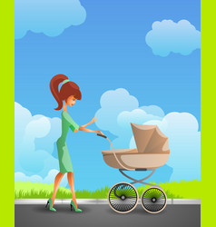 Young mother pushing pram vector