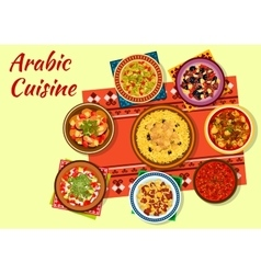 Arabic cuisine rich and flavorful dishes icon vector