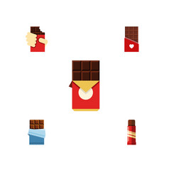 Flat icon cacao set of sweet shaped box bitter vector