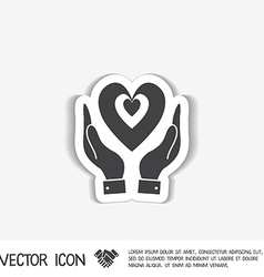hand holding a heart icon isolated symbol vector image