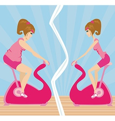 Indoor Cycling girl vector image vector image