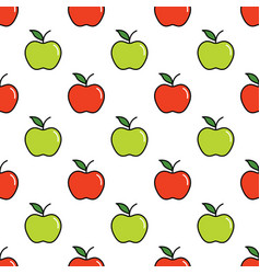 pattern with red and green apples vector image vector image