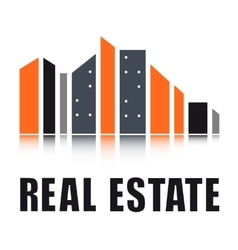Real estate symbol with city landscape vector