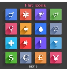 Flat Application Icons Set 8 vector image vector image