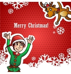 Funny cute reindeer and dwarf christmas red vector