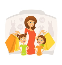 Happy woman with kids on shopping vector image vector image