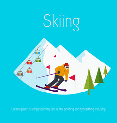 mountains ski resort trees skier flat design vector image vector image