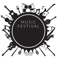 Music Instruments Objects Label Silhouette vector image