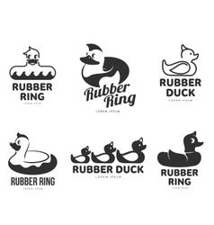 Set of logo templates with rubber duck vector