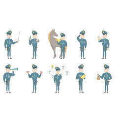 young caucasian policeman set vector image