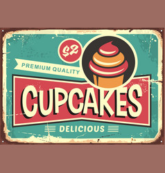 delicious cupcakes retro sign for candy shop vector image