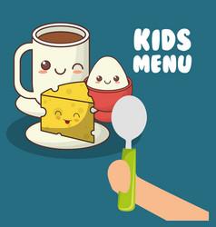 Kids menu hand holding spoon with breakfast vector