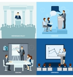 Publicly speaking people 4 flat icons square vector image vector image