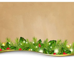 Retro Background And Fir Tree Border And Paper vector image