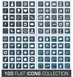 Set of 100 universal flat modern icons vector image vector image