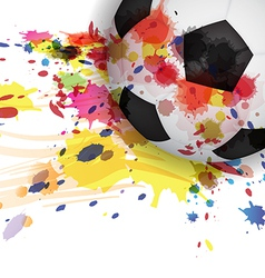 soccer ball ink splash design background vector image vector image