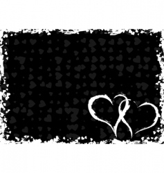 valentines grunge frame with hearts vector image vector image