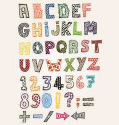 doodle fancy abc alphabet vector image