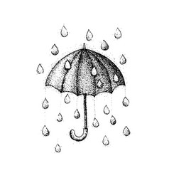 dotwork umbrella rain vector image vector image