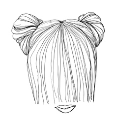 Hand drawn hairstyle vector image vector image