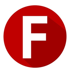 Letter f in red circle vector