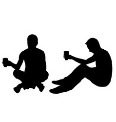 silhouettes of men begging vector image vector image