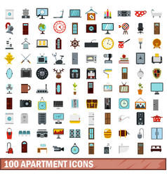 100 apartment icons set flat style vector