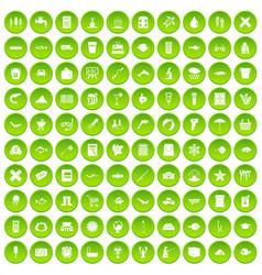 100 fish icons set green circle vector