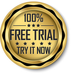 100 free trial gold label vector image