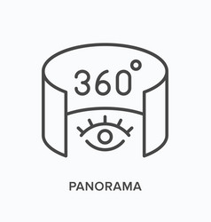 360 degree panorama flat line icon outline vector image