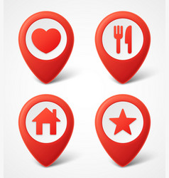 3d map pointer icons map markers set vector image