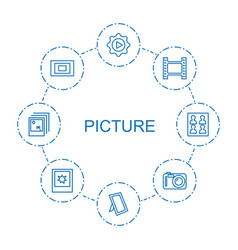 8 picture icons vector
