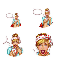Avatar of surprised girl with smartphone vector