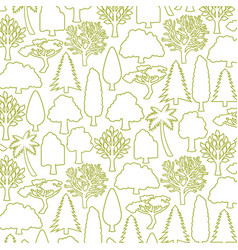 background pattern with trees thin line icons vector image