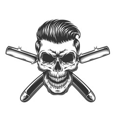 barber skull with stylish hairstyle vector image