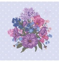 Beautiful Spring and Summer Floral Bouquet for vector image