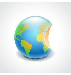 Bitten globe environment concept vector