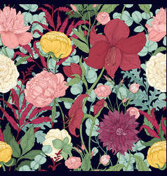 botanical seamless pattern with gorgeous garden vector image