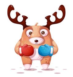 Boxing sport crazy deer vector